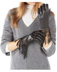 BCBGMAXAZRIA Leather Fringe Gloves