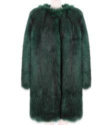 Dries Van Noten - Bis Faux Fur Green Coat - Lyst
