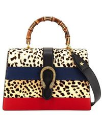 Gucci - Dionysus Large Bamboo Top-handle Bag In Leopard Calf Hair - Lyst