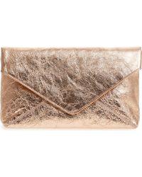 Dries Van Noten - Crinkle Metallic Leather Envelope Clutch - Lyst