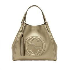 Gucci - Gold Beige Soho Leather Hobo Bag - Lyst