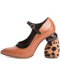 Dries Van Noten - Leather Mary Jane W/fur Heel - Lyst