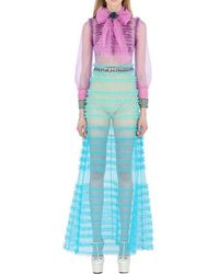 f8dbbb7d3ccd2 Gucci - Blue Ruffled Tulle   Organza Dress - Lyst