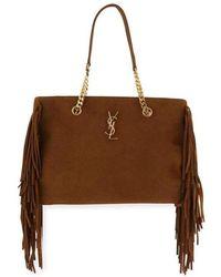 6b8dc83e888a Saint Laurent - Ysl Large Monogram Suede Fringe Tote Shopper Bag - Lyst