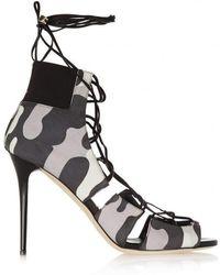 Jimmy Choo - Myrtle Camouflage-print Nubuck Sandals - Lyst