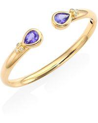 Temple St. Clair - Bella Diamond, Tanzanite & 18k Yellow Gold Bangle Bracelet - Lyst