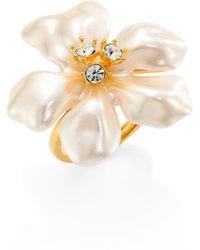 Kenneth Jay Lane - Faux Pearl & Crystal Flower Ring - Lyst