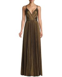 Laundry by Shelli Segal - Pleated Spaghetti Strap Metallic A-line Gown - Lyst