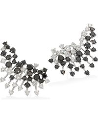 Hueb - Diamond & 18k White & Black Gold Ear Crawler Earrings - Lyst