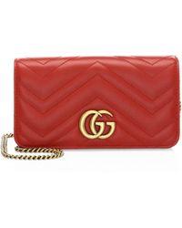 dc8b6b381f8 Gucci - Women s Marmont 2.0 Leather Crossbody Bag - Red Orange - Lyst