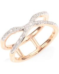 Monica Vinader | Riva Pave Wave Cross Ring/rose Goldtone | Lyst