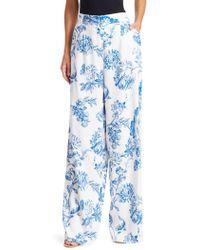Oscar de la Renta - Flared Floral Silk Trousers - Lyst