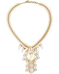 House of Lavande - Nihiwatu Mother-of-pearl & Crystal Fish Spine Bib Necklace - Lyst