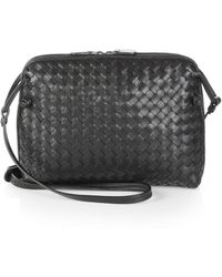 0c9f71fff436 Bottega Veneta - Women s Small Pillow Intrecciato Leather Crossbody Bag -  Black - Lyst