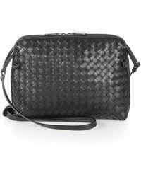 2ecf54c0a8 Lyst - Bottega Veneta Pillow Intrecciato Leather Crossbody Bag in Blue