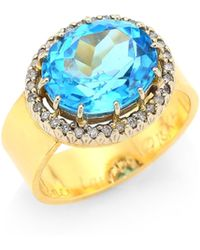 Renee Lewis Women's Antique Diamond 18k Gold Surround Ring - Blue