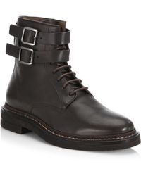 Brunello Cucinelli - Double Buckle Leather Boots - Lyst
