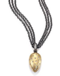 Rene Escobar - Diamond, 18k Yellow Gold & Sterling Silver Triple-strand Teardrop Pendant Necklace - Lyst