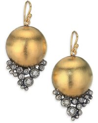 Rene Escobar - Diamond, 18k Yellow Gold & Sterling Silver Dome Drop Earrings - Lyst