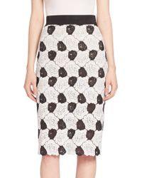 ABS By Allen Schwartz - Floral Lace Pencil Skirt - Lyst