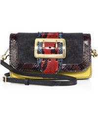 45c21ac03bfc Burberry - Merridale Patchwork Multicolor Snakeskin   Leather Shoulder Bag  - Lyst