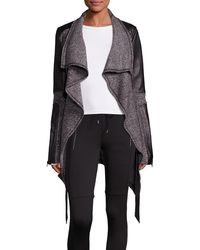 Blanc and Noir - Leather Trim Sweater Coat - Lyst