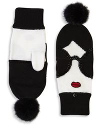 Alice + Olivia - Stace Face Fur Pom-pom Convertible Mittens - Lyst