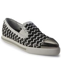 Miu Miu - Two-tone Woven Leather Cap Toe Loafers - Lyst