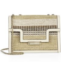 Aerin - Straw-embroidered Leather Crossbody Bag - Lyst
