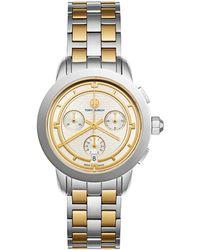 Tory Burch - Tory Chronograph Two-tone Stainless Steel Bracelet Watch - Lyst