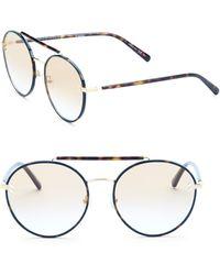 Stella McCartney - 57mm Havana Round Sunglasses - Lyst