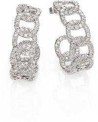 Roberto Coin - Diamond & 18k White Gold Link J-hoop Earrings - Lyst
