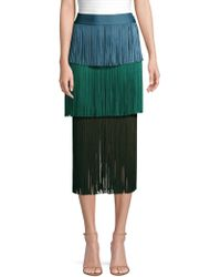 Hervé Léger - Color Block Fringe Skirt - Lyst