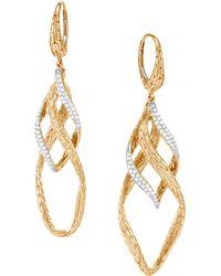 John Hardy - 14k Gold Diamond Drop Earrings - Lyst
