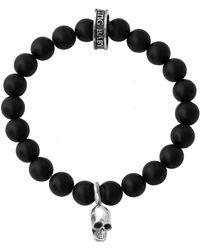 King Baby Studio - Onyx Sterling Silver Skull Beaded Bracelet - Lyst