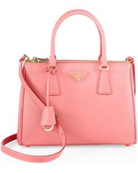 Prada - All Designer Products - Saffiano Lux Small Double-zip Tote - Lyst
