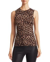 Saks Fifth Avenue - Collection Animal-print Sleeveless Cashmere Top - Lyst