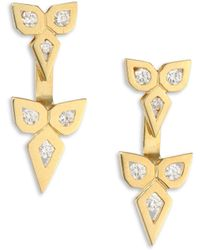 Ron Hami - V Diamond & 18k Yellow Gold Ear Jacket & Stud Earrings Set - Lyst