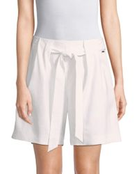 St. John - Stretch Twill Tie-front Shorts - Lyst