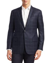 Armani - Slim-fit Windowpane Wool Blazer - Lyst