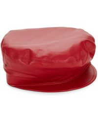 Eric Javits - Women's Night Porter Leather Cap - Red - Lyst