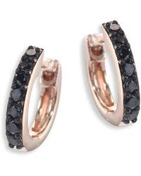 Astley Clarke - Mini Halo Black Diamond & 14k Rose Gold Hoop Earrings - Lyst