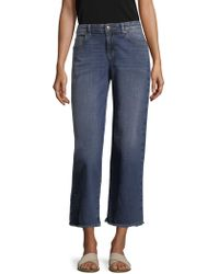 Eileen Fisher - Wide Leg Raw Edge Jeans - Lyst