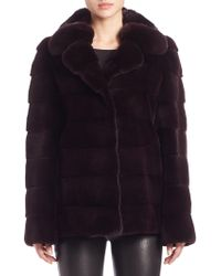 Saks Fifth Avenue - Chinchilla & Sheared Mink Fur Jacket - Lyst