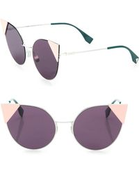 Fendi - 55mm Round Cat's-eye Sunglasses - Lyst