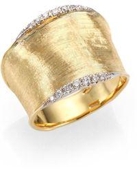 Marco Bicego - Lunaria Diamond & 18k Yellow Gold Band Ring - Lyst