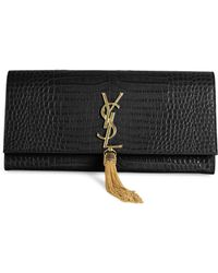 Saint Laurent | Kate Monogram Croc-embossed Leather Tassel Clutch | Lyst