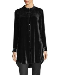 Eileen Fisher - Velvet Mandarin-collor Tunic Shirt - Lyst