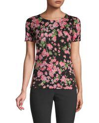 ESCADA - Floral-print Wool & Silk Tee - Lyst