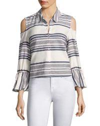 Splendid - Striped Cold-shoulder Bell-sleeve Shirt - Lyst